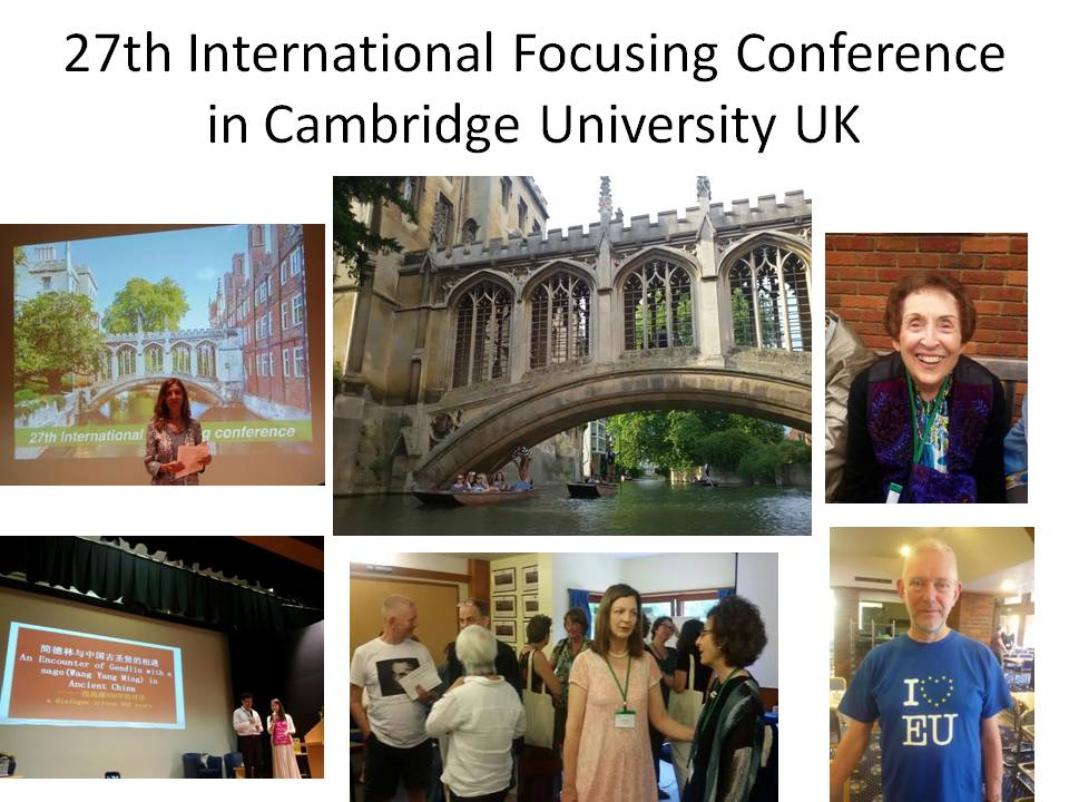 27th International Focusing Conference in Cambridge University UK